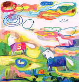 Hand coloured drawn horses in the field. Semi abstract landscape with horses wearing weather coats/macs