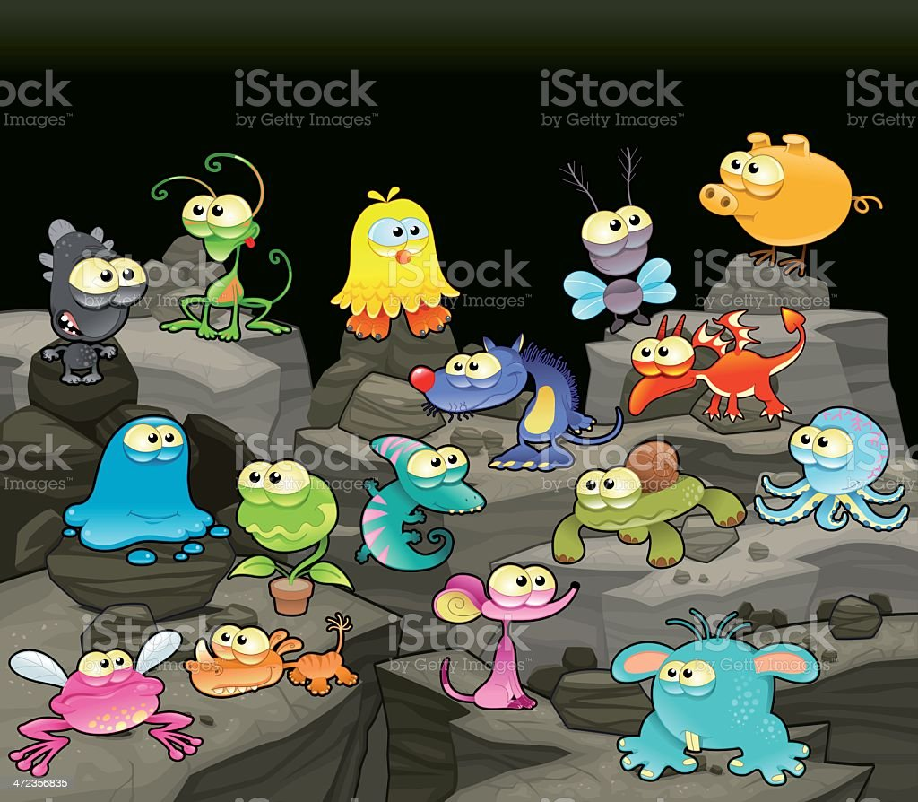 Family of monsters in the cave. royalty-free stock vector art