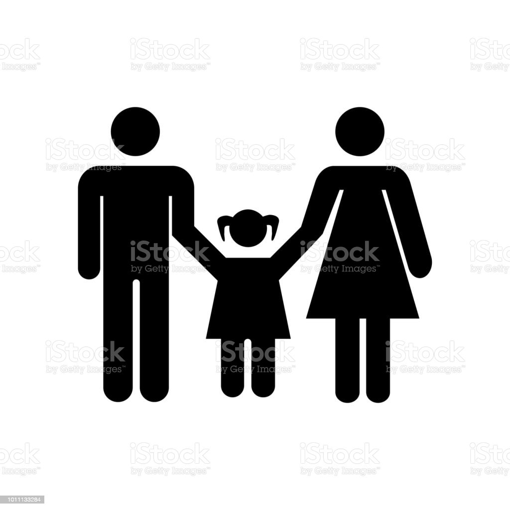 Family Of Mother And Father With A Daughter Icon Vector Icon Simple