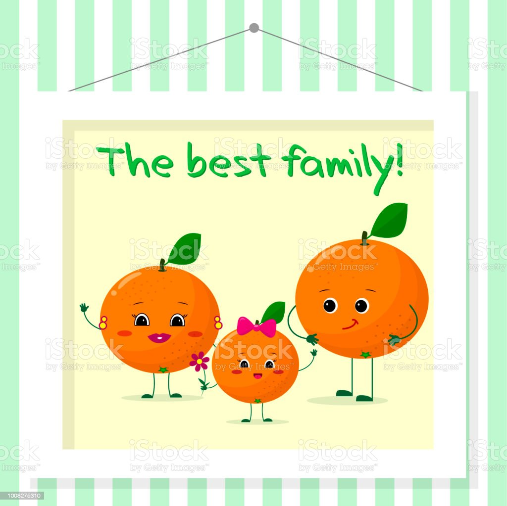 Family Of Oranges Smileys Mom Dad And Kid In Cartoon Style Pictured ...