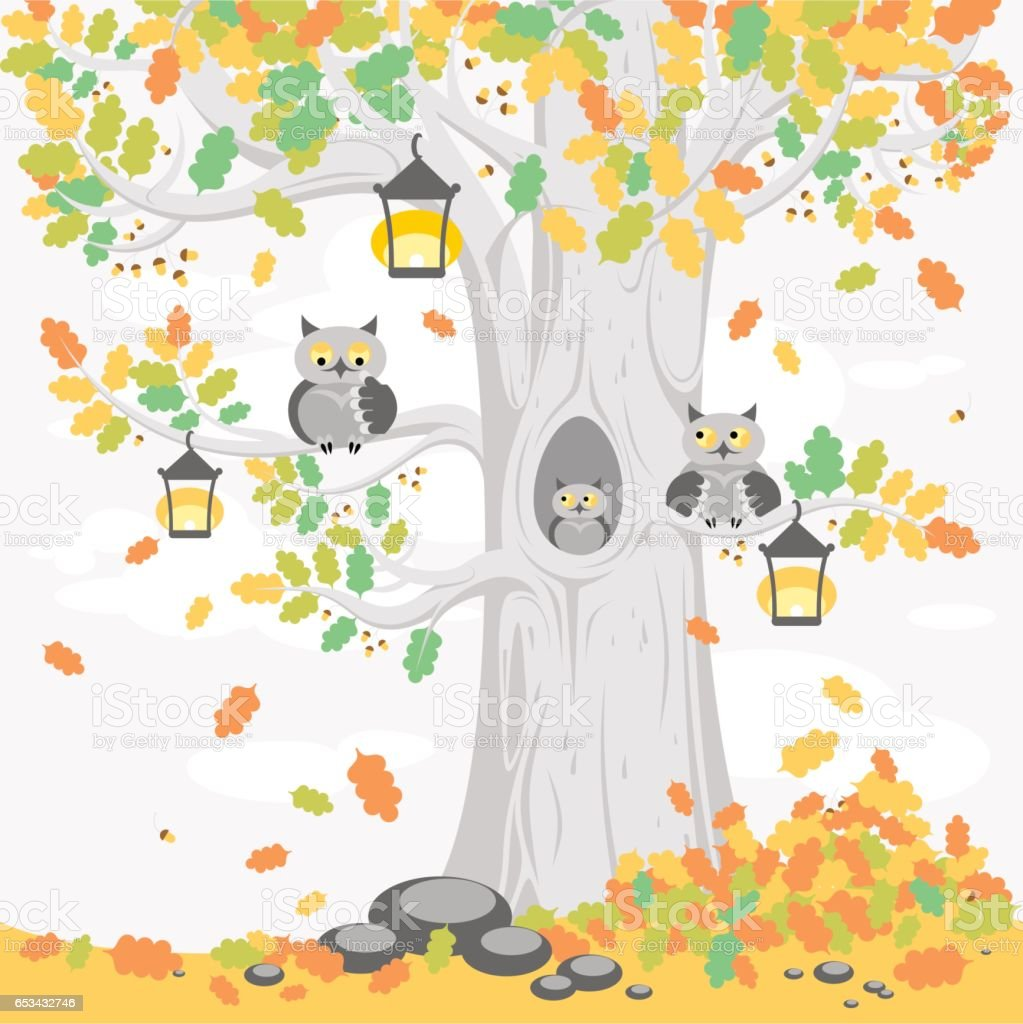A family of owls on a tree in autumn, cute cartoon characters vector art illustration