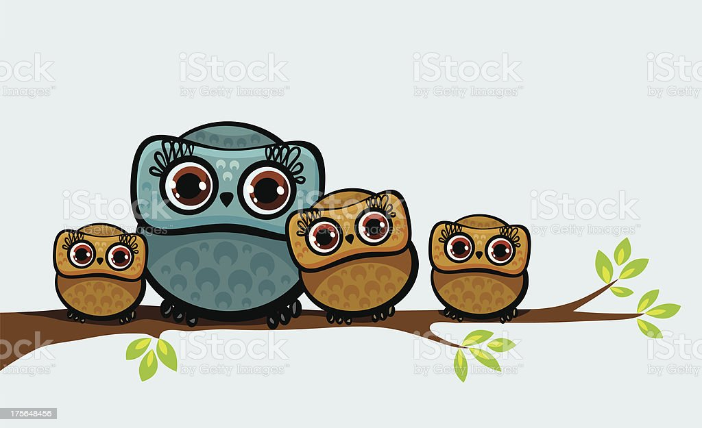 Family of owls. vector art illustration