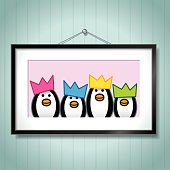 Family of Penguins Wearing Party Hats in Picture Frame