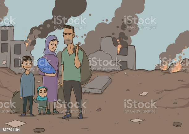 Family of refugees with two children on destroyed buildings and vector id872791194?b=1&k=6&m=872791194&s=612x612&h=jq3qdtsvyslsidcco9g 6m wkvu5m3cojo4suefrzpo=
