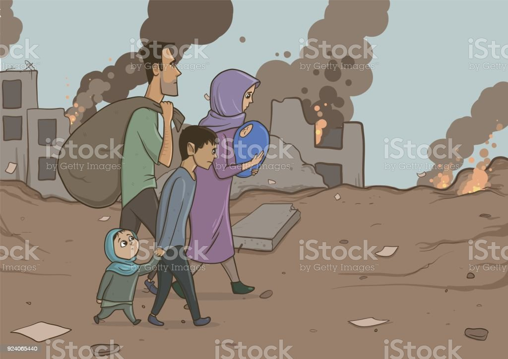Family of refugees with two children on destroyed buildings background. Immigration religion and social theme. War crisis and immigration. Horizontal vector illustration cartoon characters. vector art illustration