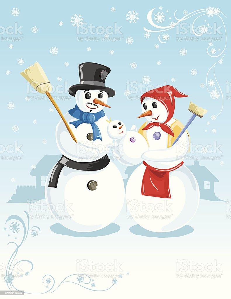 family of snowmen royalty-free stock vector art