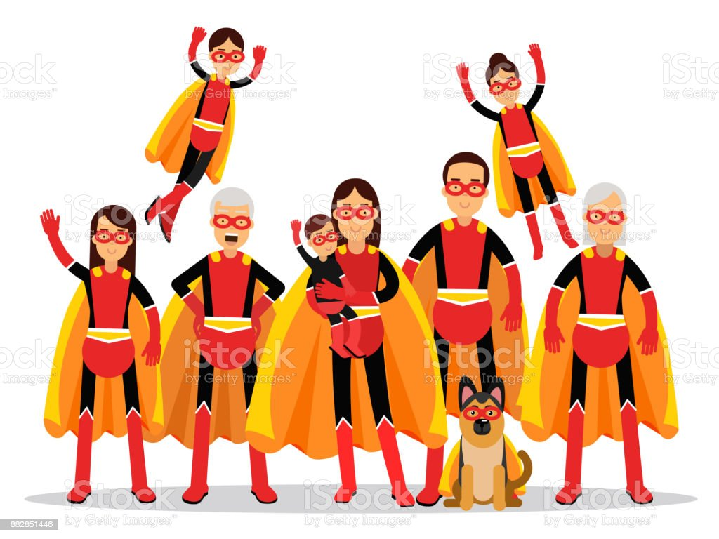Family Of Superheroes Grandmother Grandfather Mother Father Children