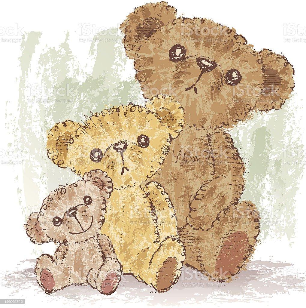 Family of Teddy bear royalty-free stock vector art