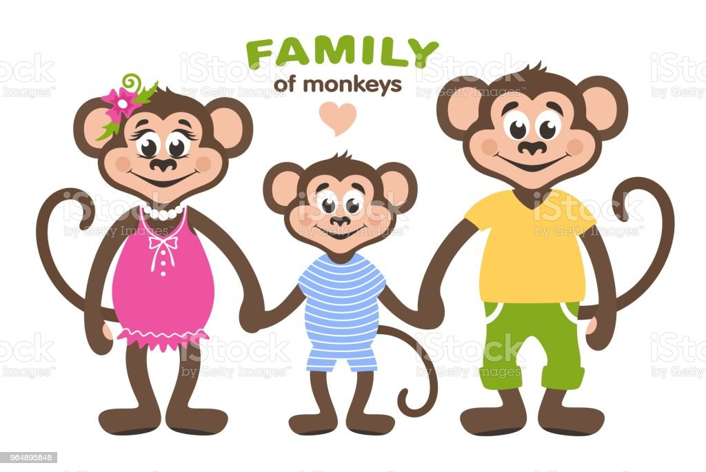A family of three monkeys - mom, dad and son. vector art illustration