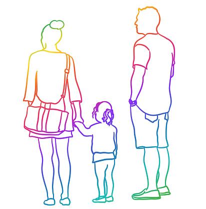 Family Of Three Sketch Rainbow