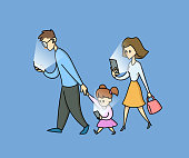 Family of three staring into their phones while waling, side view. People addicted to social networks and spending time in internet. Flat cartoon vector illustration, isolated on blue background.