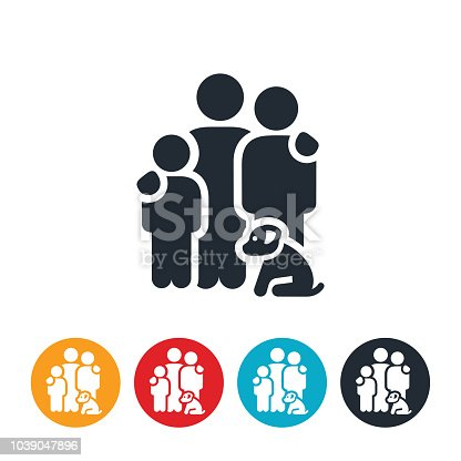 istock Family of Three with Dog Icon 1039047896