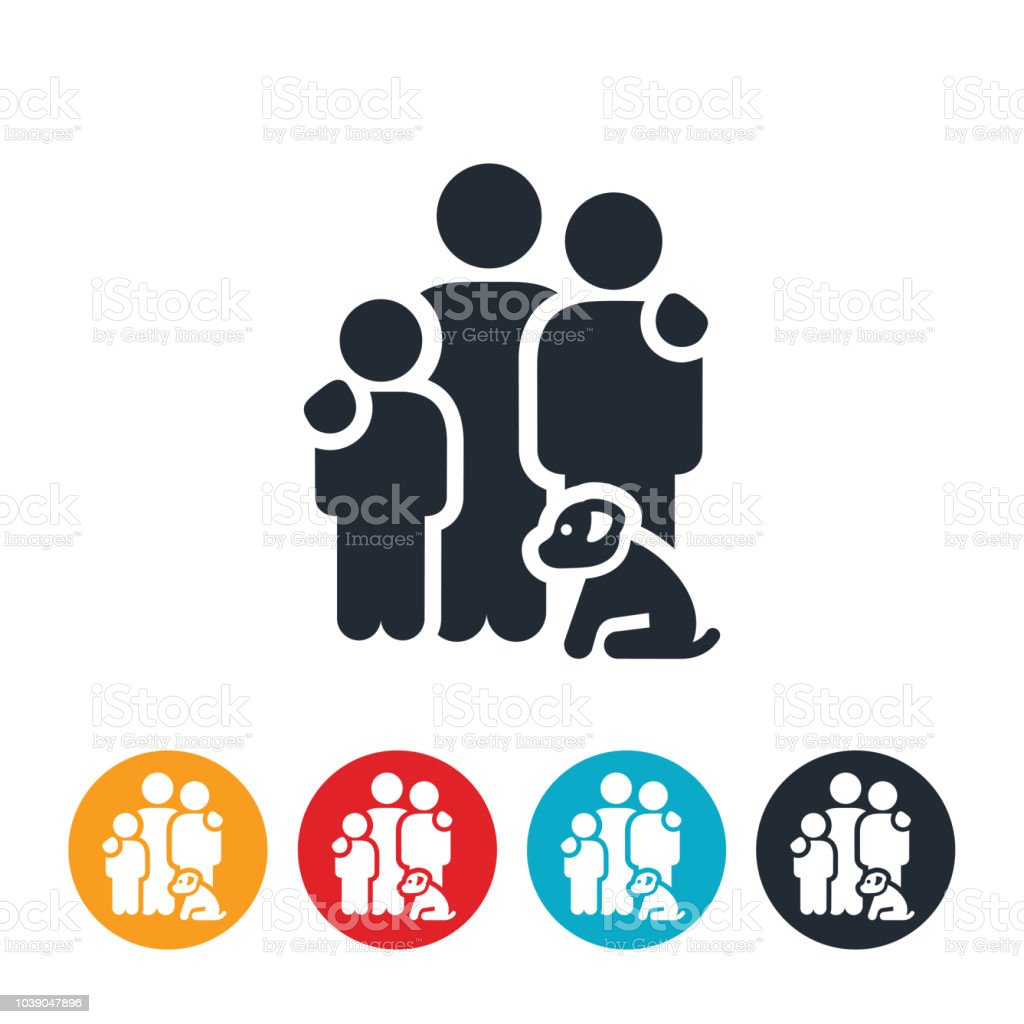 Family of Three with Dog Icon vector art illustration