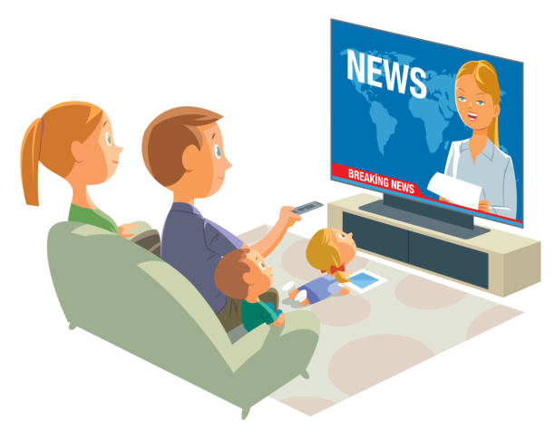 family of watching television Vector family of watching television family watching tv stock illustrations