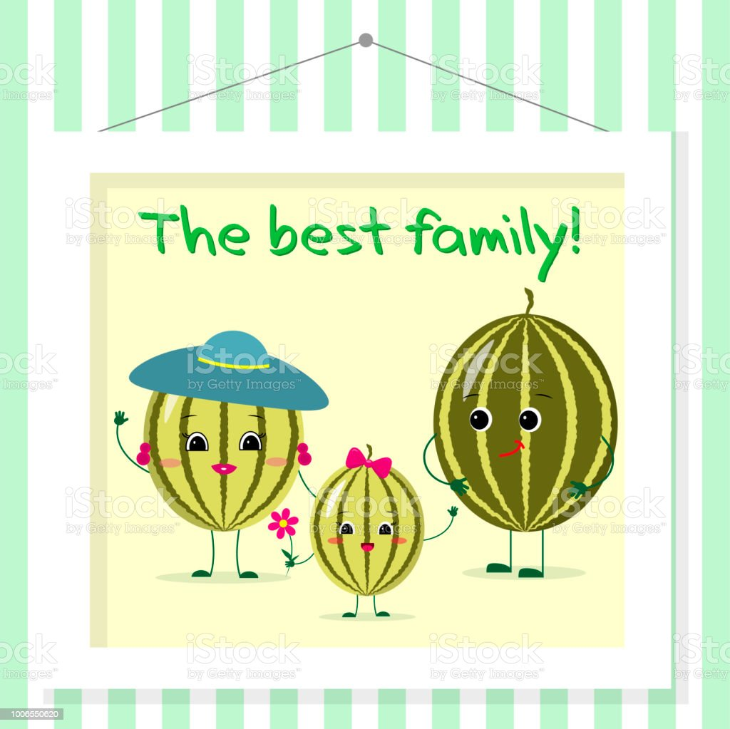 Family Of Watermelons Smileys Mom Dad And Kid In Cartoon Style ...
