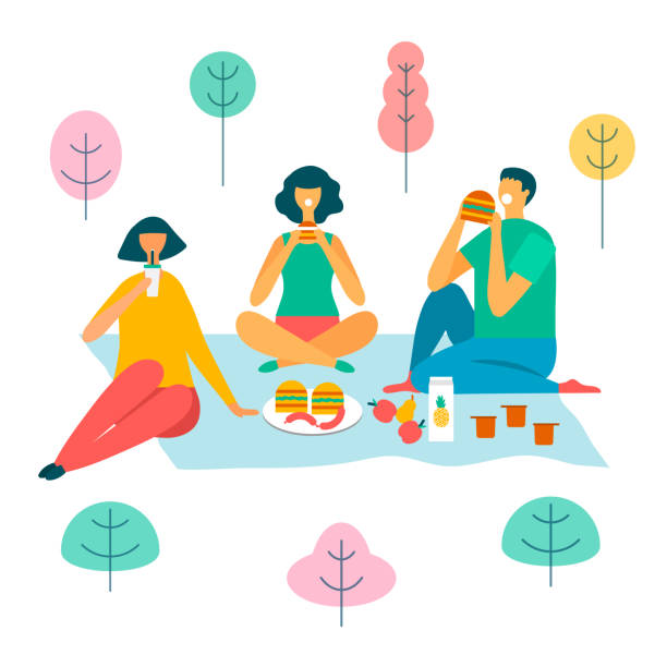 family on a picnic in the forest vector illustration vector illustration of a family in the park on a picnic female sandwich stock illustrations