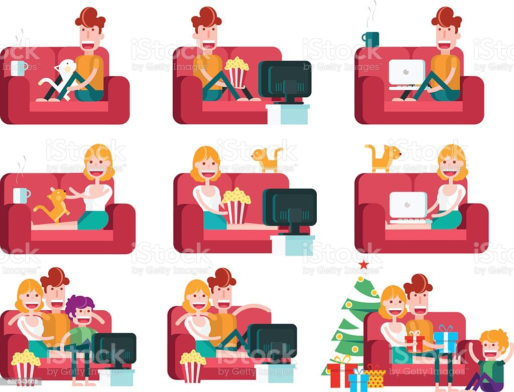 Family on a Sofa. Staying at Home. vector art illustration