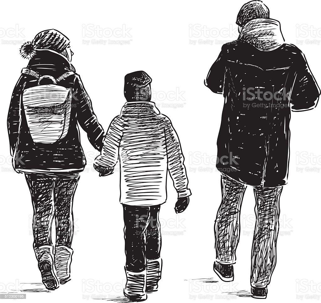 family on a stroll vector art illustration