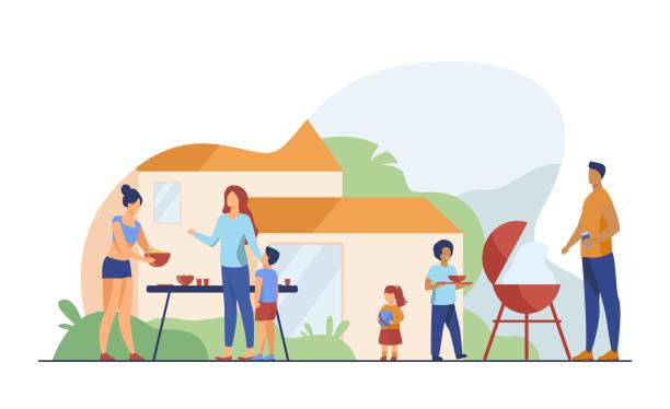 family on bbq party on backyard flat vector illustration - family gatherings stock illustrations
