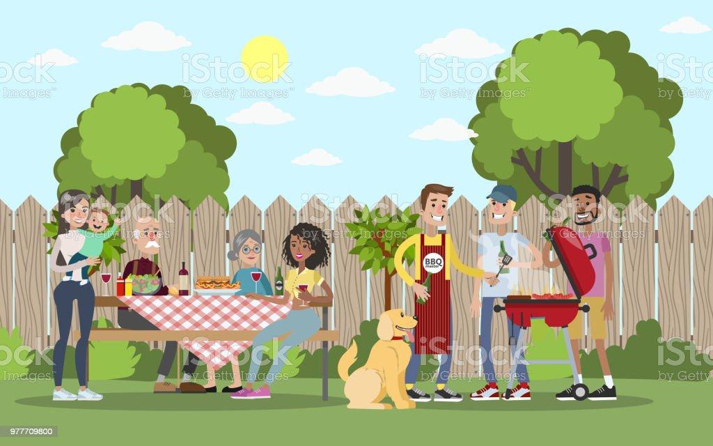 Famille sur BBQ party sur l'arrière-cour. - Illustration vectorielle