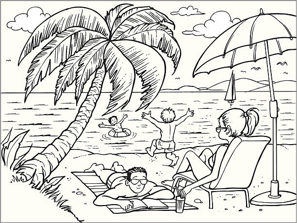 Black And White Beach Illustrations, Royalty-Free Vector ...