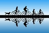 Active rest of parents with children. Vector illustration with silhouettes of cyclists and running dog. Blue pastel background