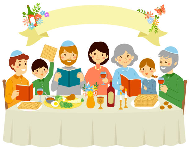 Family on Passover Eve Happy Jewish family celebrating Passover eve under a blank banner with floral decorations. passover stock illustrations