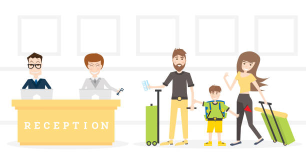 family on reception in hotel get key from room. - hotel reception stock illustrations
