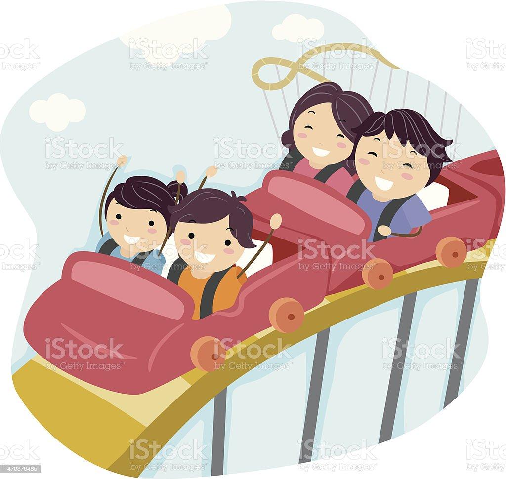 Family On Roller Coaster royalty-free stock vector art