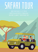 istock Family on Safari Tour in card or poster template, flat vector illustration. 1271933743