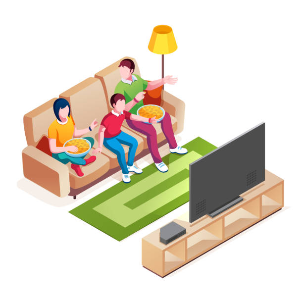 Family on sofa watch television. Couple with child watching tv show or movie. Father and mother, kid watch film. Couch with mom and dad eating food, baby near plasma screen. Activity, lifestyle Family on sofa watch television. Couple with child watching tv show or movie. Father and mother, kid watch film. Couch with mom and dad eating food, baby near plasma screen. Activity, lifestyle family watching tv stock illustrations