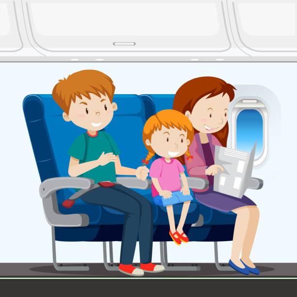 uçakta aile - airplane seat stock illustrations
