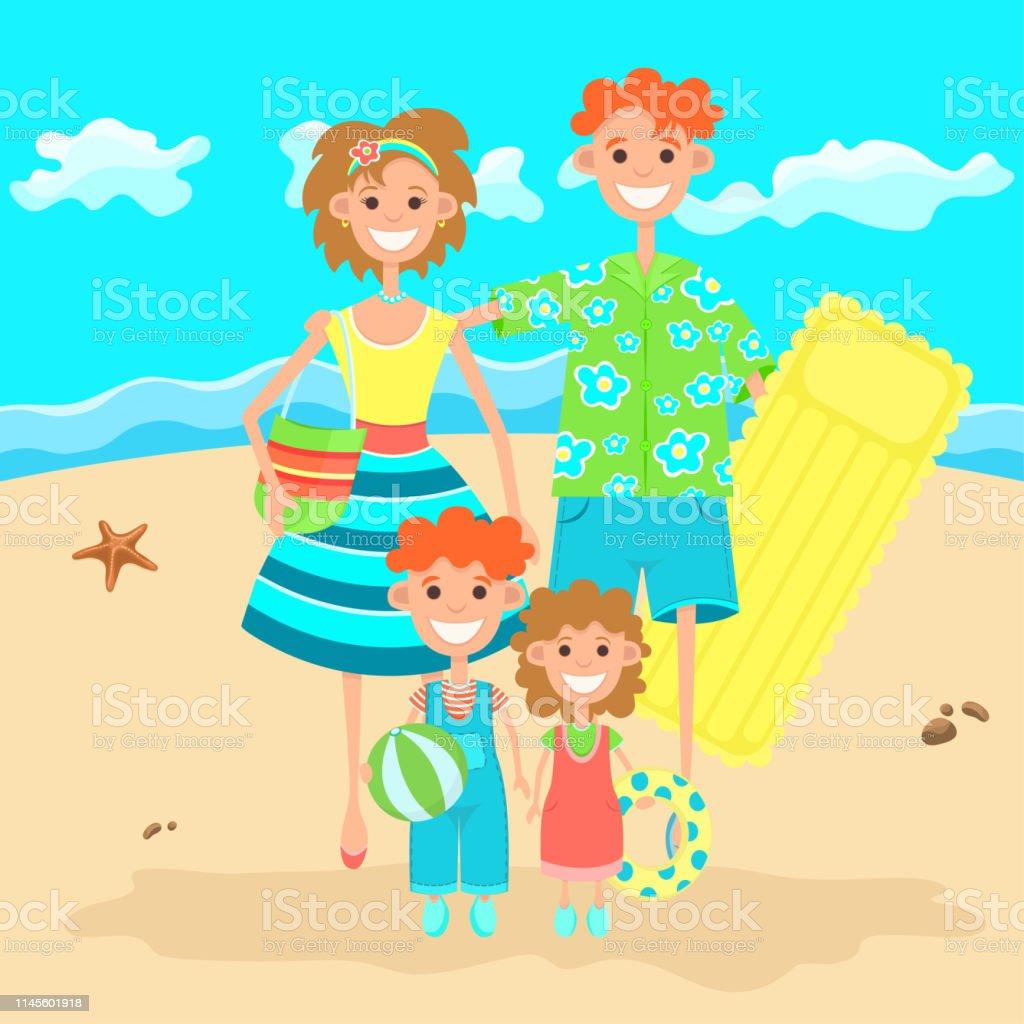 Famille En Vacances Reposant Sur La Plage Dessin Coloré Plat