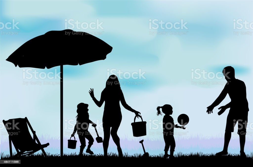 Family on vacations. vector art illustration