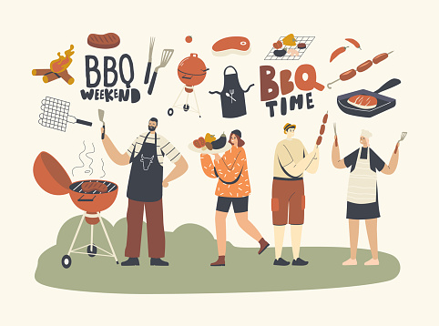Family or Friend Characters Spend Time on Outdoor Bbq. People Cooking and Eating Sausages and Meat with Vegetables