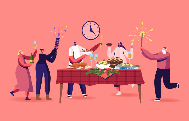 illustrazioni stock, clip art, cartoni animati e icone di tendenza di family or friends christmas dinner, happy characters celebrating xmas holiday at table with turkey traditional meals - cena natale