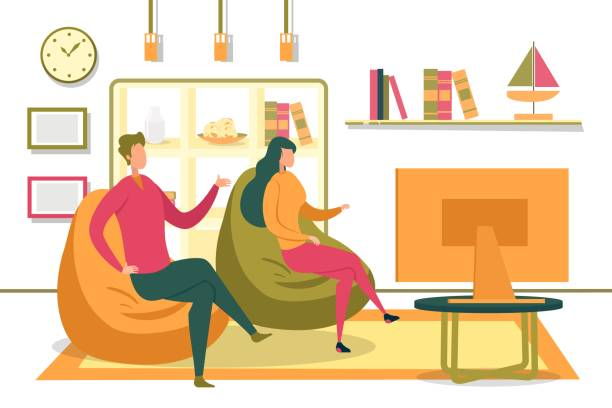 Family or Friends Couple Watching TV in Room. Family Couple or Friends, Man and Woman Cartoon Characters Sitting in Living Room Interior, Communicating and Watching Television. Leisure and Recreation, Vacant Day at Home. Flat Vector Illustration. family watching tv stock illustrations