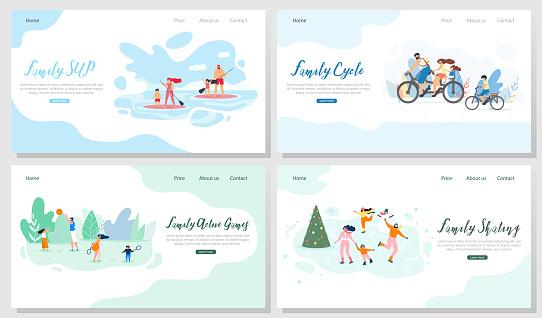 Family Outdoor Activities Vector Web Banners Set