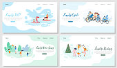 Family Outdoor Activities Flat Vector Web Banners Set. Happy Parents with Children Riding Bicycle, Playing Active Sport Games in Park, Skating on Ice Rink, Paddleboarding on Summer Resort Illustration