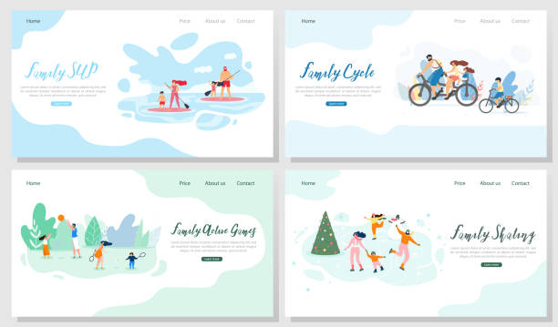 Family Outdoor Activities Vector Web Banners Set Family Outdoor Activities Flat Vector Web Banners Set. Happy Parents with Children Riding Bicycle, Playing Active Sport Games in Park, Skating on Ice Rink, Paddleboarding on Summer Resort Illustration family trips and holidays stock illustrations
