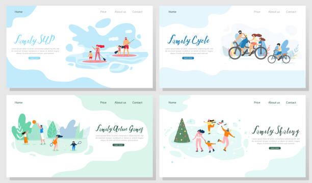 illustrations, cliparts, dessins animés et icônes de les activités de plein air familial vecteur ensemble de bannières web - vacances en famille