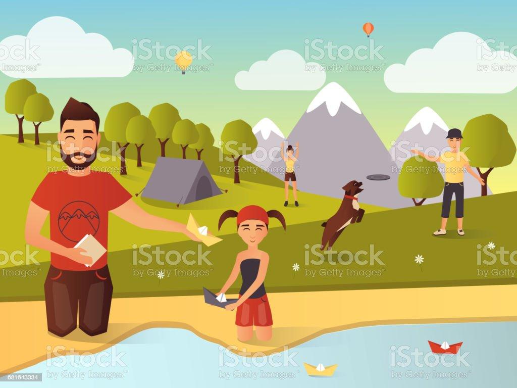 Ilustracion De Juegos Al Aire Libre De La Familia Vector Ilustracion