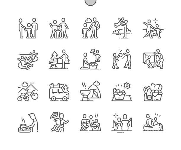 familie outdoor erholung gut gemacht pixel perfect vector thin line icons 30 2x grid für web-grafiken und apps. einfaches minimal piktogramm - freizeitaktivität stock-grafiken, -clipart, -cartoons und -symbole