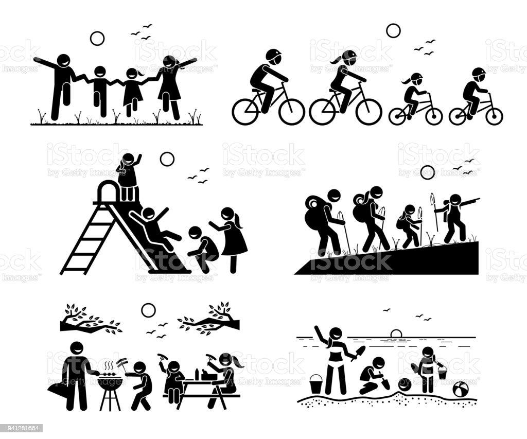 Family outdoor recreational activities. vector art illustration