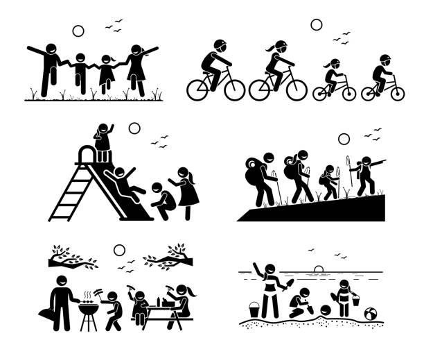 illustrations, cliparts, dessins animés et icônes de familles activités récréatives en plein air. - vacances en famille