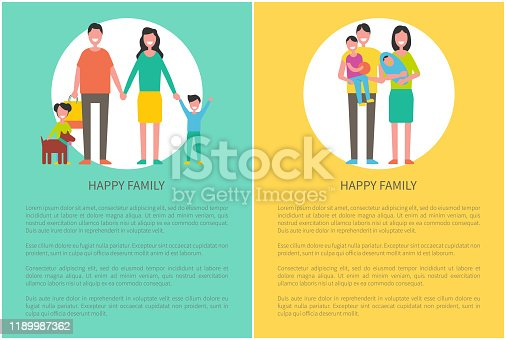 Family parent and kids poster with text sample. Pet with daughter, father and mother holding child. Boy kid playing with ball, happy spouses vector
