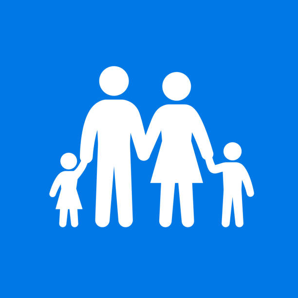 Family parents and kids holding hands. vector art illustration