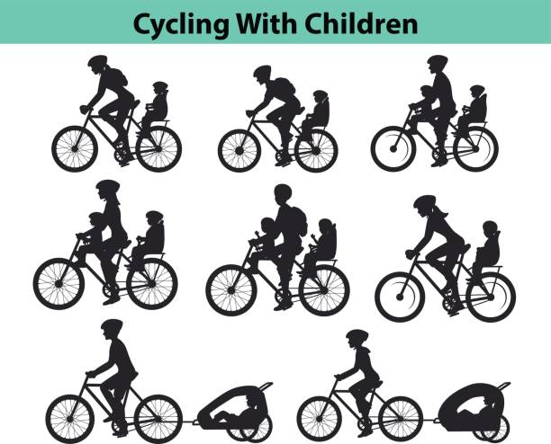 Family, Parents, Man Woman with their children, boy and girl, riding bikes. Safe kids seats and trolleys to travel cycling together  silhouettes vector illustration vector art illustration