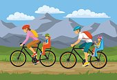 Family, Parents, Man Woman with their children, boy and girl, traveling riding bikes. Safe kids seats and trolleys for cycling together outdoor vector illustration