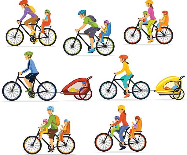 family, parents, man woman with their children - lustige fahrrad stock-grafiken, -clipart, -cartoons und -symbole